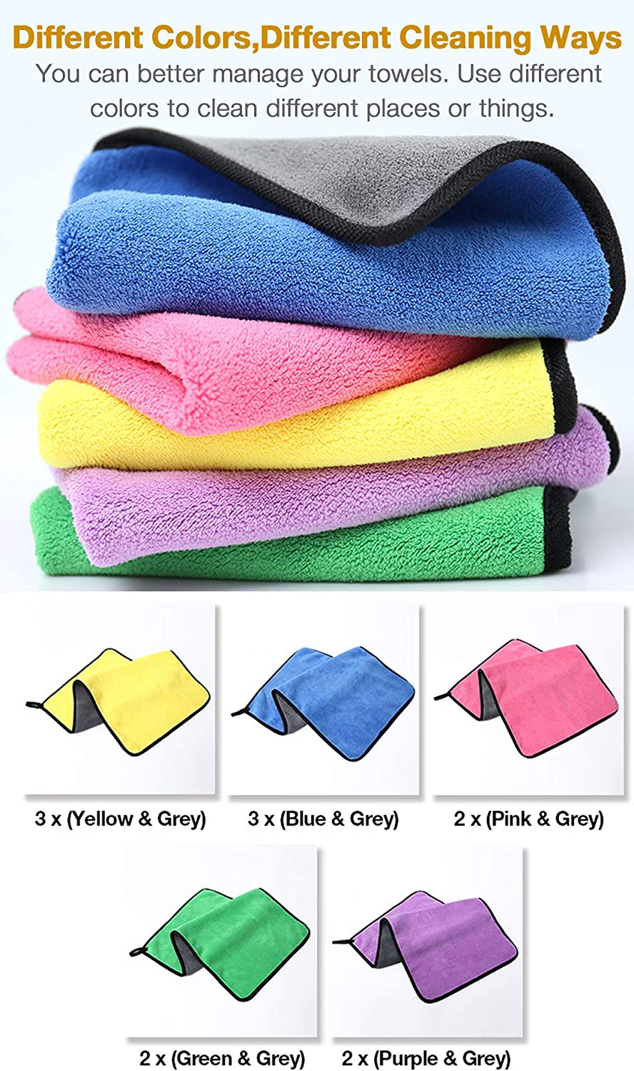 Trucks RVs GreatCool Car 24 x 12 Large Microfiber Cleaning Cloth Drying Towel Scratch-Free Lint Free Auto Wash Detailing for Cars SUVs Boats and Home Polishing Washing and Detailing -12 Pack
