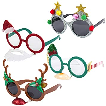 2714822b41fa Pack of 4 Assorted Novelty Christmas Fancy Dress Hanging Glasses  Amazon.co. uk  Toys   Games