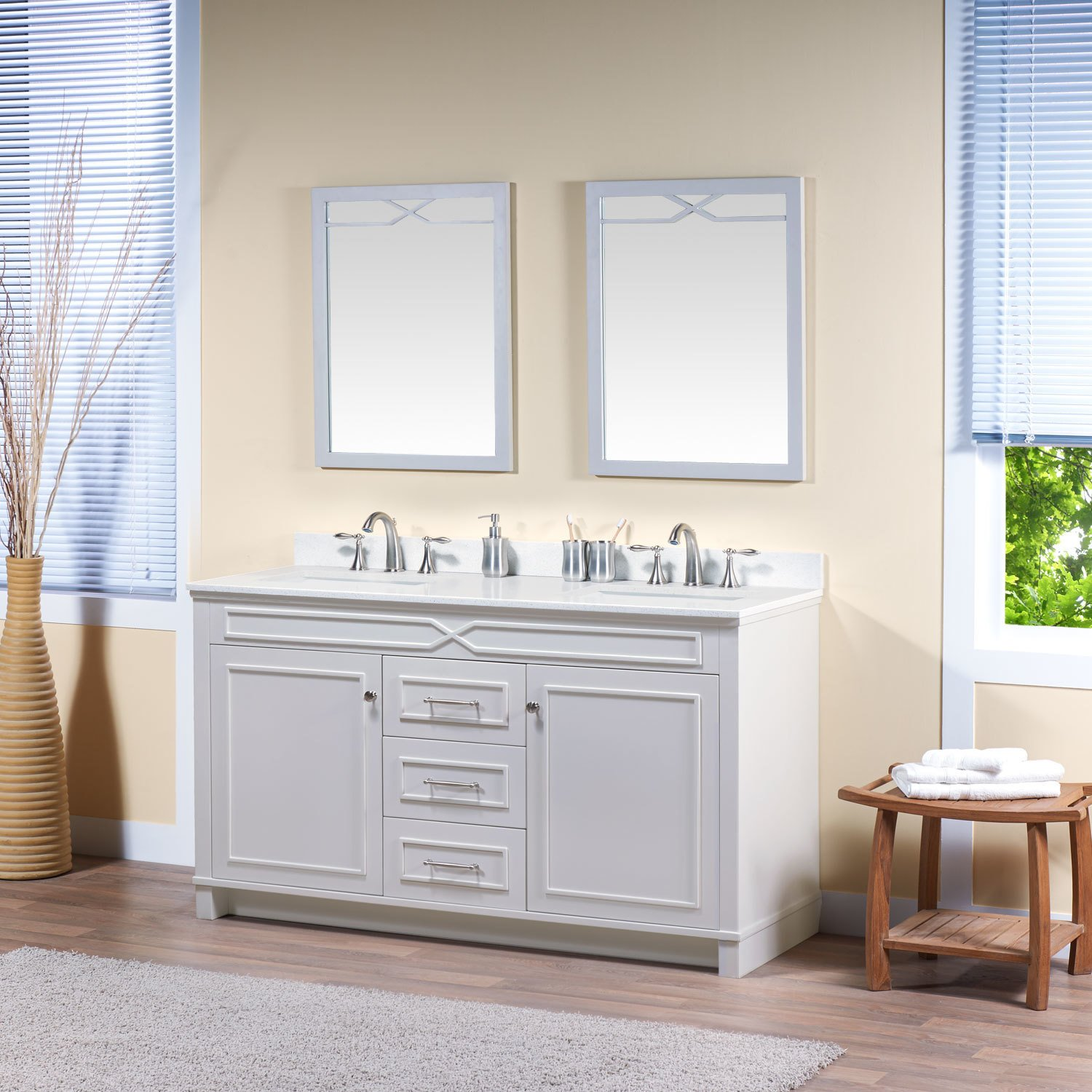 MAYKKE Abigail 60'' Bathroom Vanity Set in Birch Wood French Grey Finish | Double Gray Floor Mounted Cabine with Countertop, Backsplash in White Quartz and Ceramic Undermount Sink in White | YSA1376002 by Maykke