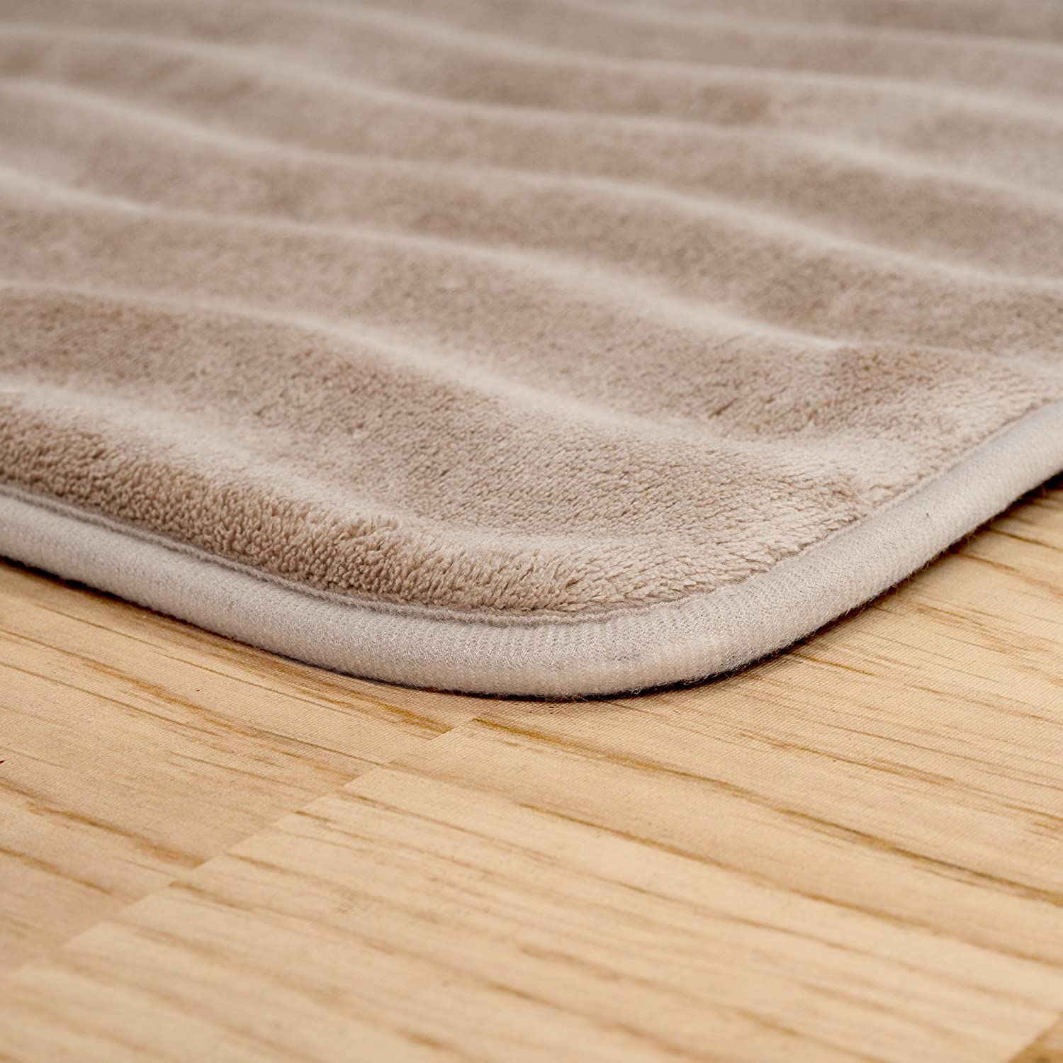 Amazon.com: Bedford Home Memory Foam Extra Long Bath Rug Mat   Taupe   24x60:  Home U0026 Kitchen