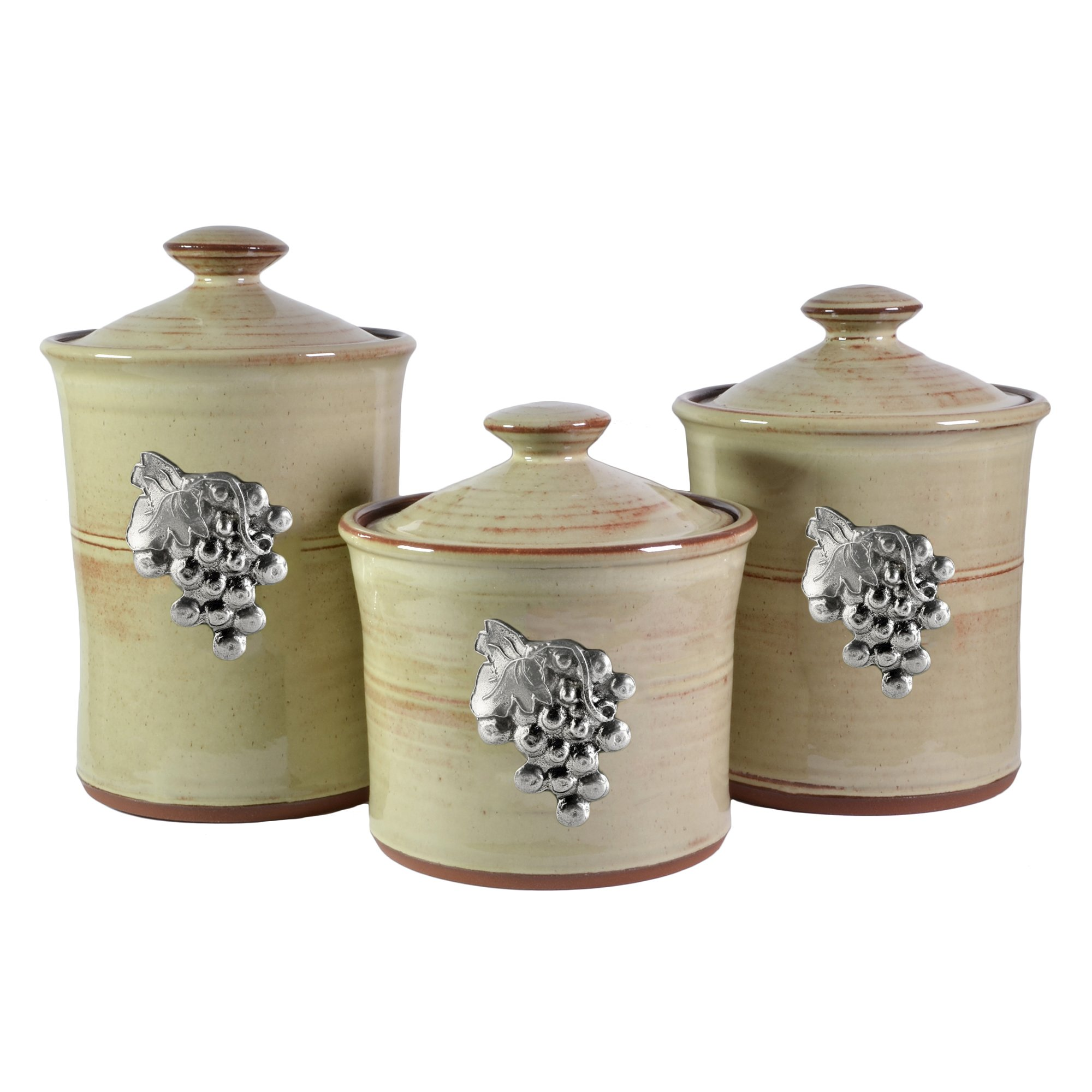 Oregon Stoneware Studio Vineyard 3-piece Canister Set, Latte by Oregon Stoneware Studio