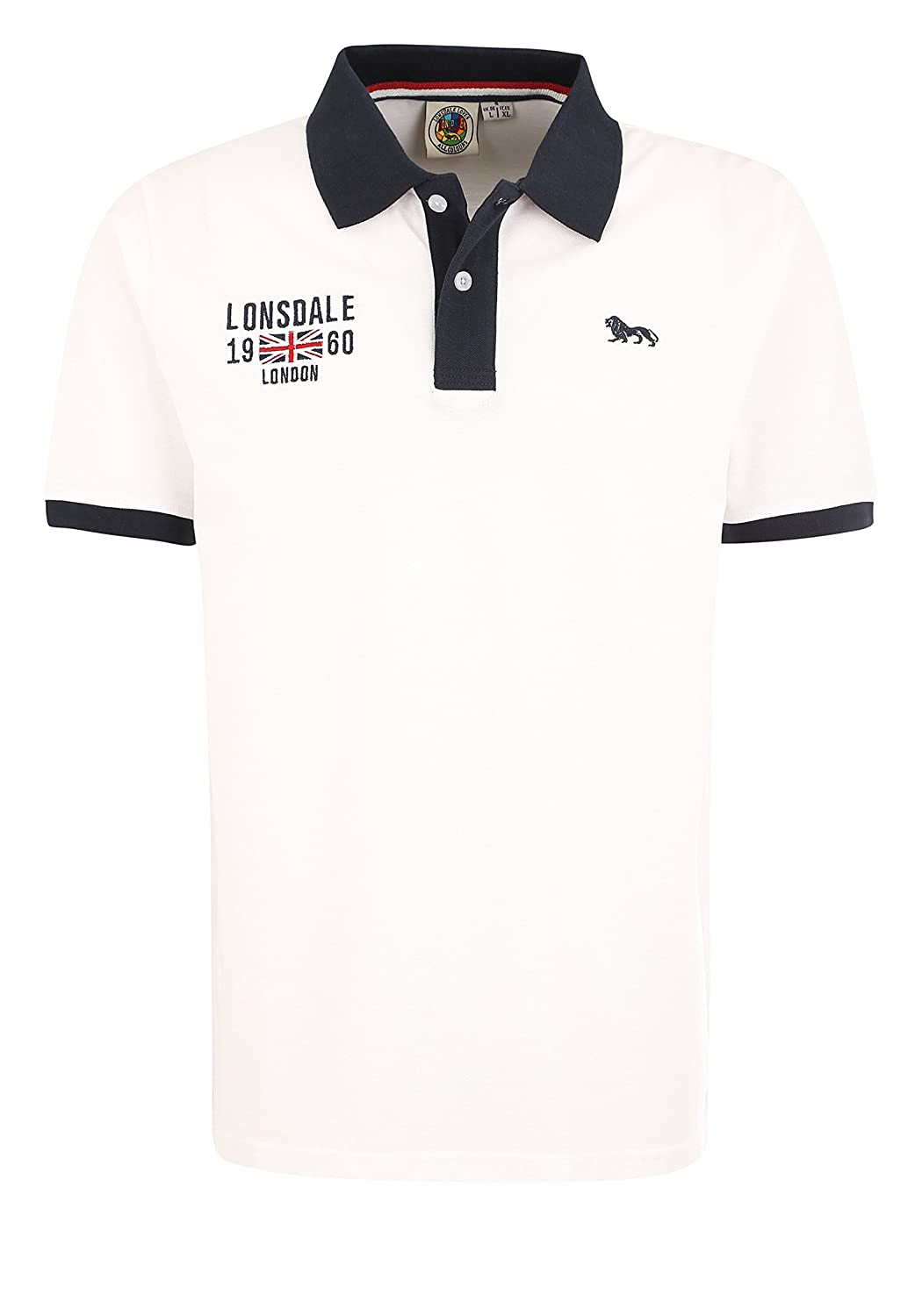 Lonsdale Capton - Polo para Hombre, Color Blanco Blanco L: Amazon ...