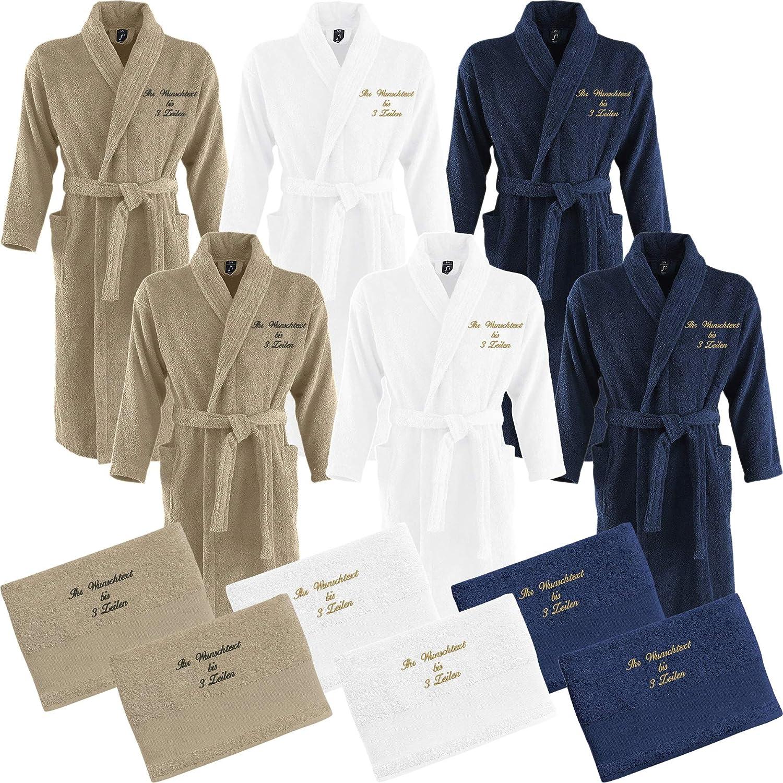 Nashville print factory 2 x Bademantel + 2 x Duschtuch Bestickt mit Name Partner-Look Sauna Hotel Morgenmantel   3 Farben (L XL, Hellbraun Sand)