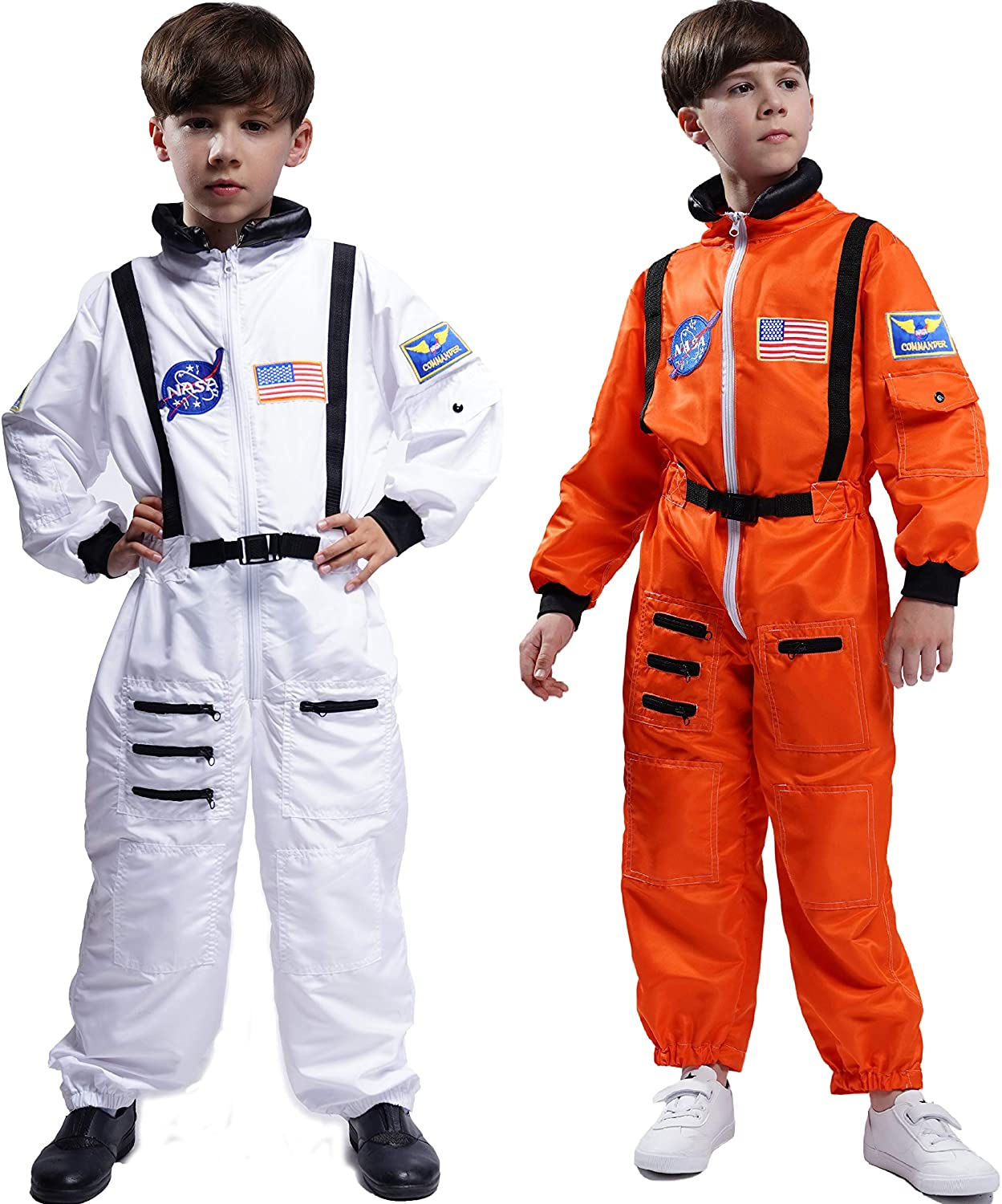 Maxim Party Supplies Kids Astronaut Costume Space Suit Onesie with Embroidered Patches and Pockets