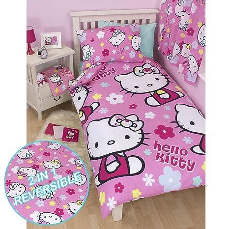 Copriletto Singolo Hello Kitty.Hello Kitty Piumone Singolo In Policotone E Federa Copricuscino Reversibile