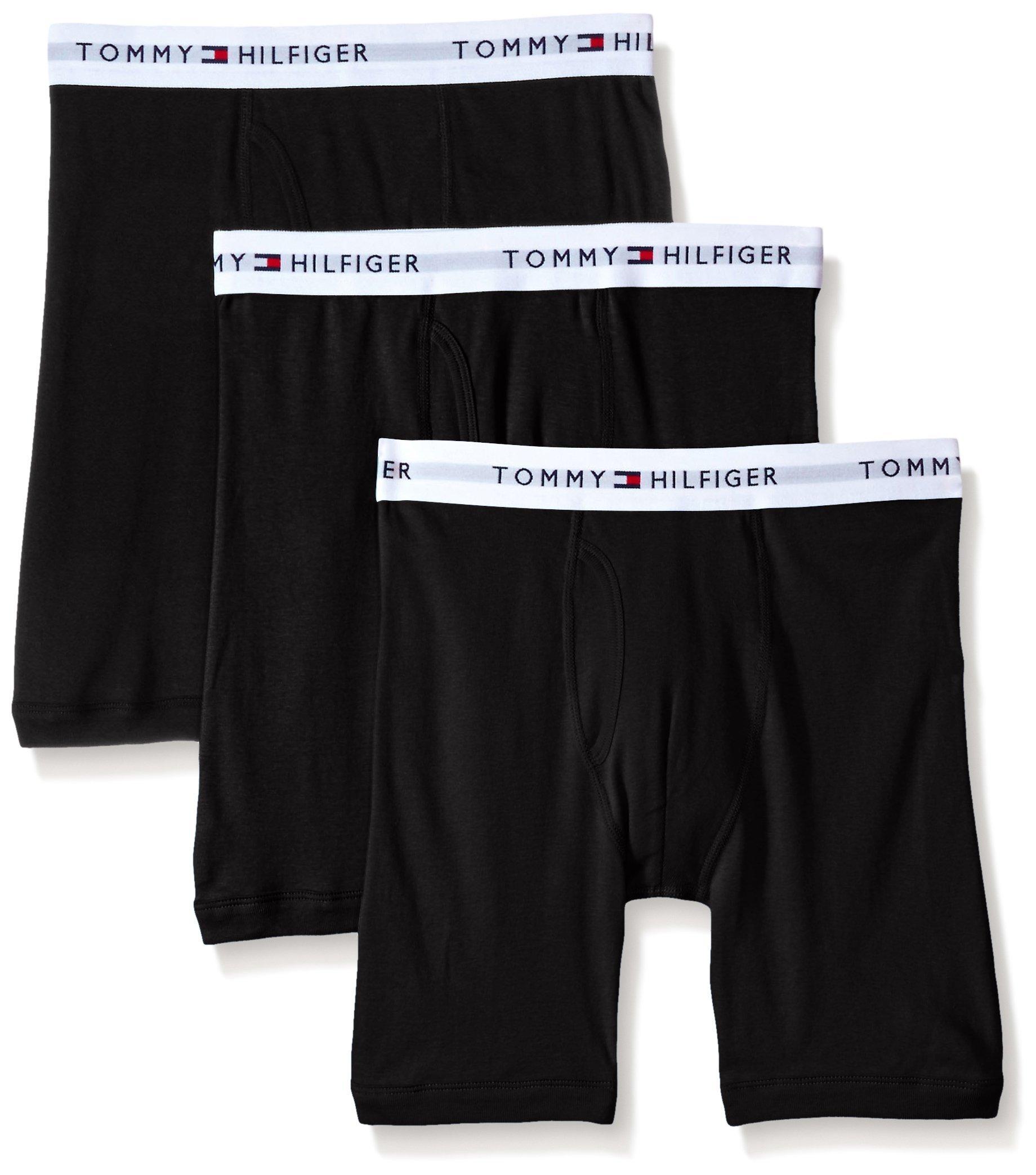 Tommy Hilfiger Men's 3-Pack Cotton Boxer Brief,Black,Large(36-38)