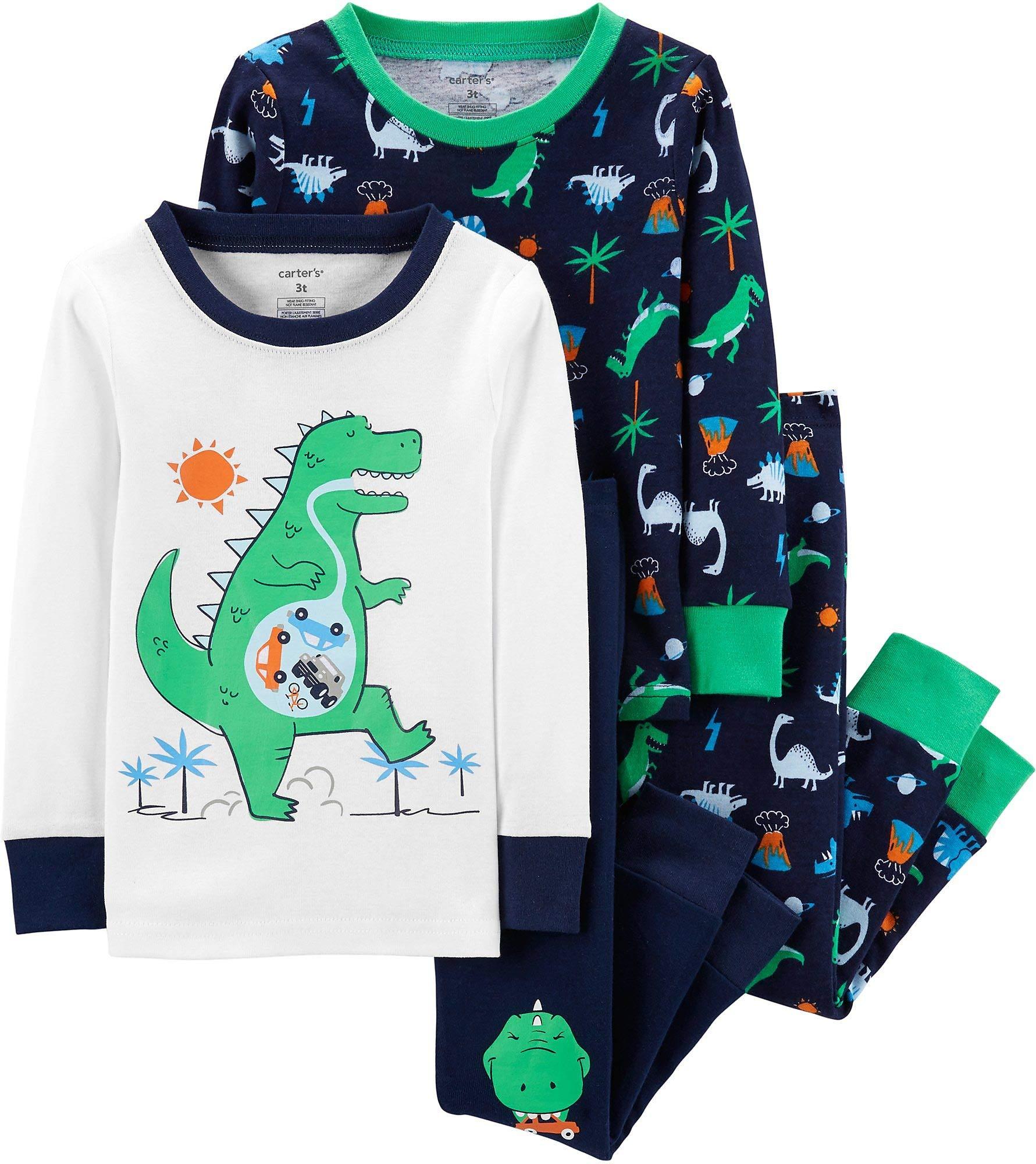 Carter's Boy's 4-Piece Snug Fit Cotton PJ Set, Green Dino, 3T