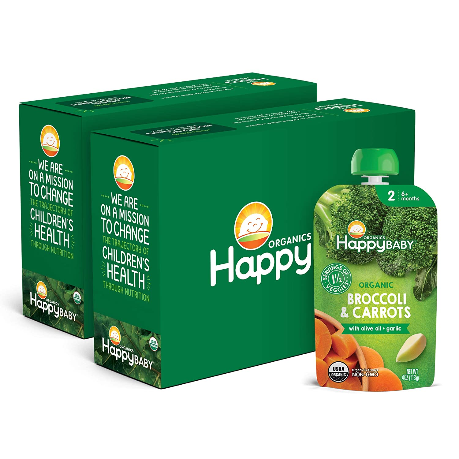 Happy Baby Organics Savory Blends Stage 2 Baby Food, Broccoli & Carrots with Olive Oil + Garlic, 4 Ounce (Pack of 16)