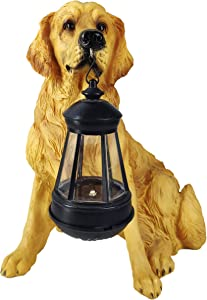 Golden Retriever Gifts Outdoor Statues with Solar Led Home Garden Decoration Windproof Lamp Realistic Dog Decor(Golden Retriever &LED)