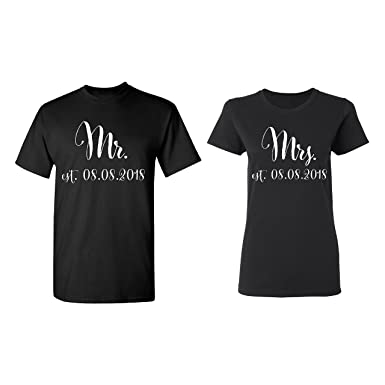 b49763ca0b Mr. - Mrs. Personalized Couple Matching Shirt Set Newly Married Customized  Valentines Day Men