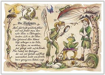 Geschenk Biologe Biologen Biologie Zeichnung Color 20 x 15 cm