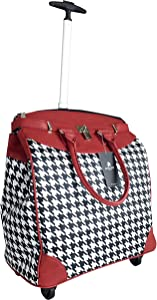 """Trendy Flyer 20"""" Computer/Laptop Bag Tote Duffel Rolling 4Wheel Case Tablet (Houndstooth Red)"""