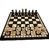 Amazinggirl Handgefertigtes Hochwertiges Schachspiel einklappbar aus Holz Edel Schachbrett Schachfiguren Kinder und Profi Schachkassette mit Figuren handgeschnitzt 42x42cm