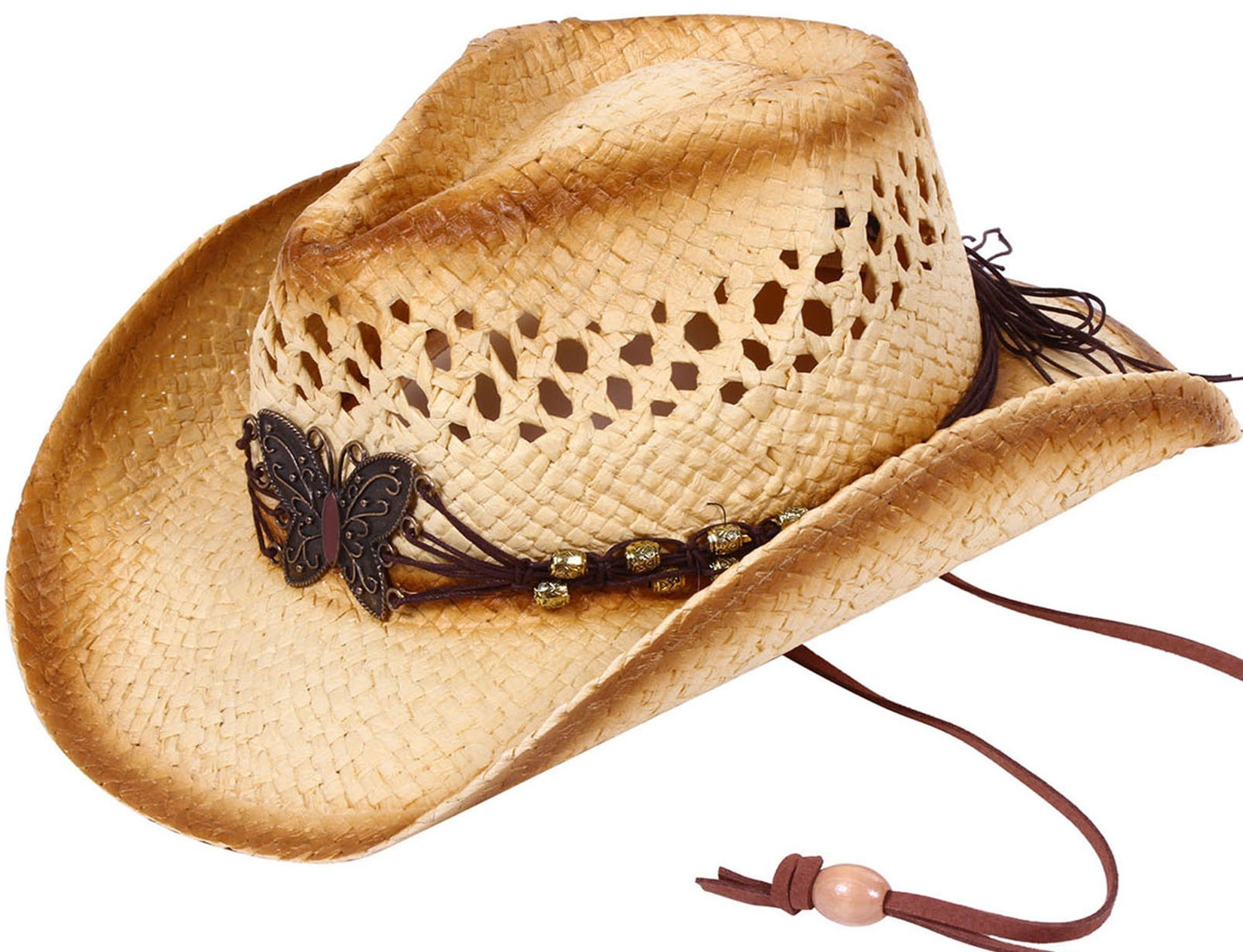 Simplicity Kid's Two-Toned Cowboy Straw Hat with Butterfly Adjustable Tie Brown