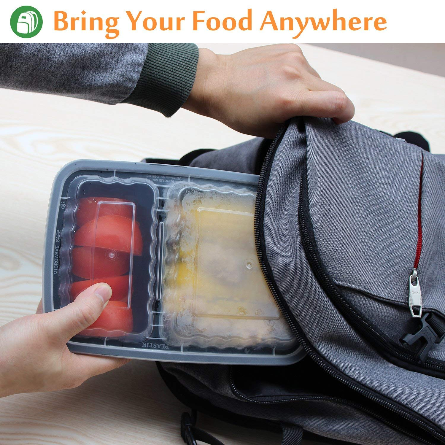 Enther Meal Prep Containers [20 Pack] 2 Compartment with Lids, Food Storage Bento Box | BPA Free | Stackable | Reusable Lunch Boxes, Microwave/Dishwasher/Freezer Safe,Portion Control (32 oz) by Enther (Image #3)