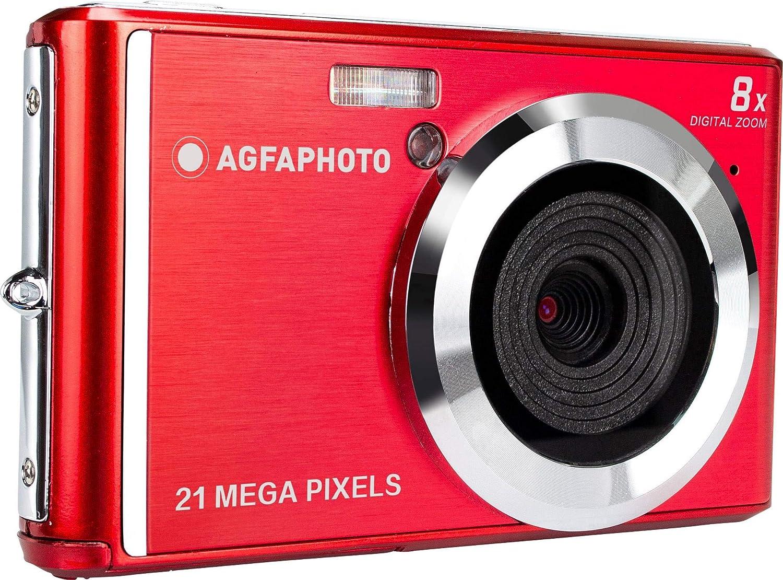 Agfa Photo–Cámara Digital Compacta con 21Mpx, Sensor CMOS, 8x Zoom Digital y Pantalla LCD Rojo