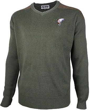 Savage Island Suéter de Caza de Lana Suéter Jersey con Pato Bordado para Tiro Cuello en V: Amazon.es: Ropa y accesorios