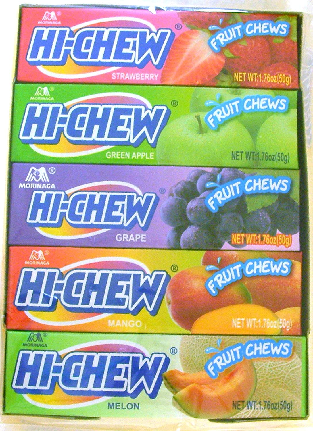 Hi-chew Assorted Fruit Flavors (10 packs) Strawberry, Green Apple, Grape, Mango