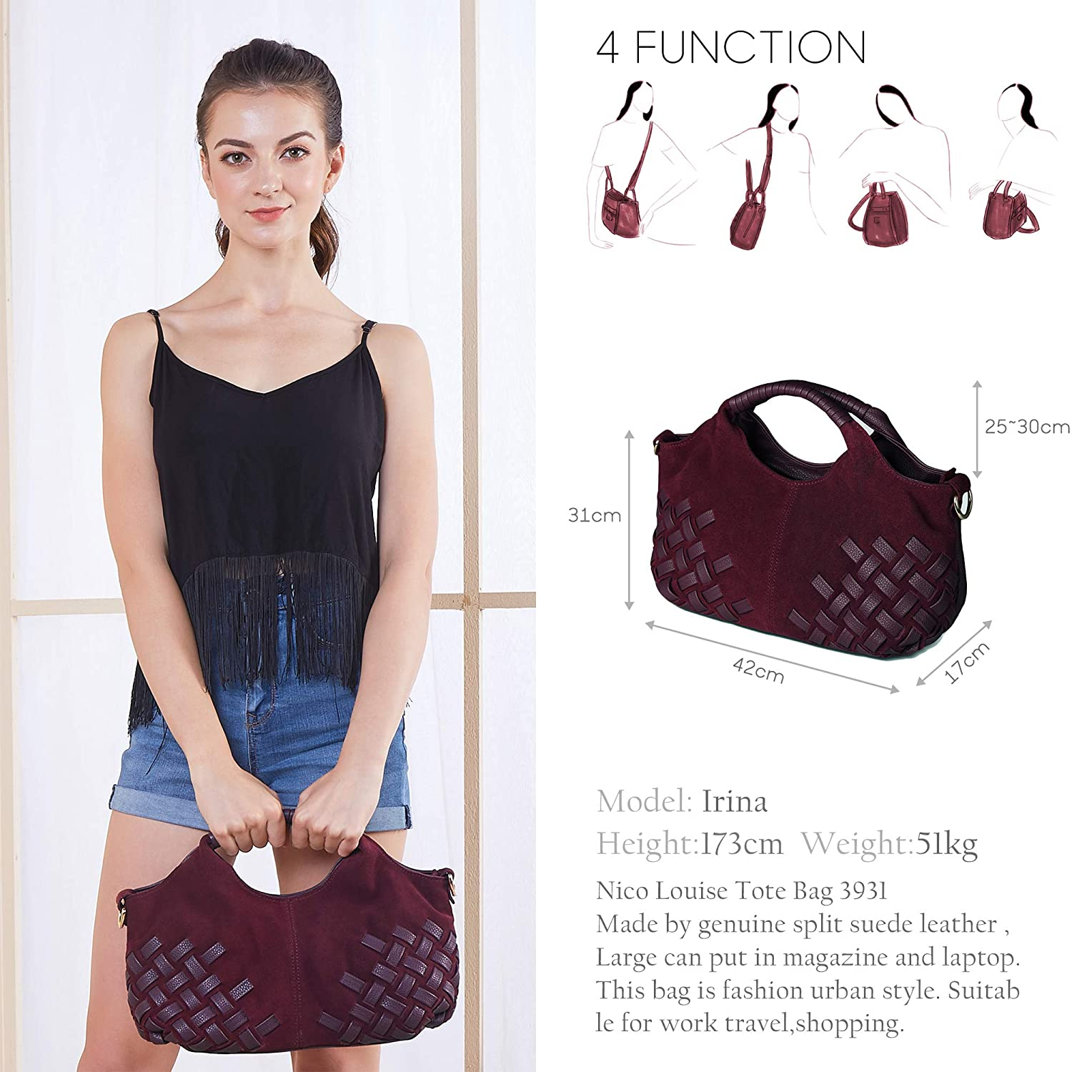 2554fd811d11 Nico Louise Women Purse Suede Split Genuine Leather Weave Handbag Leisure  Casual Shoulder Bag