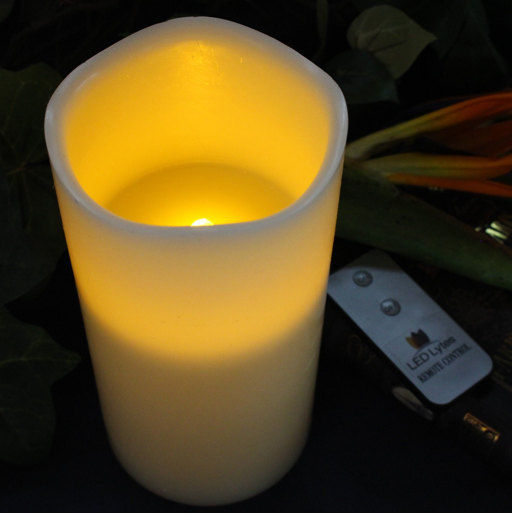 LED Lytes Flameless Candle Flickering - ONE Amber Yellow Pillar Battery Operated with Remote for Parties Weddings and Decorations by LED Lytes (Image #3)