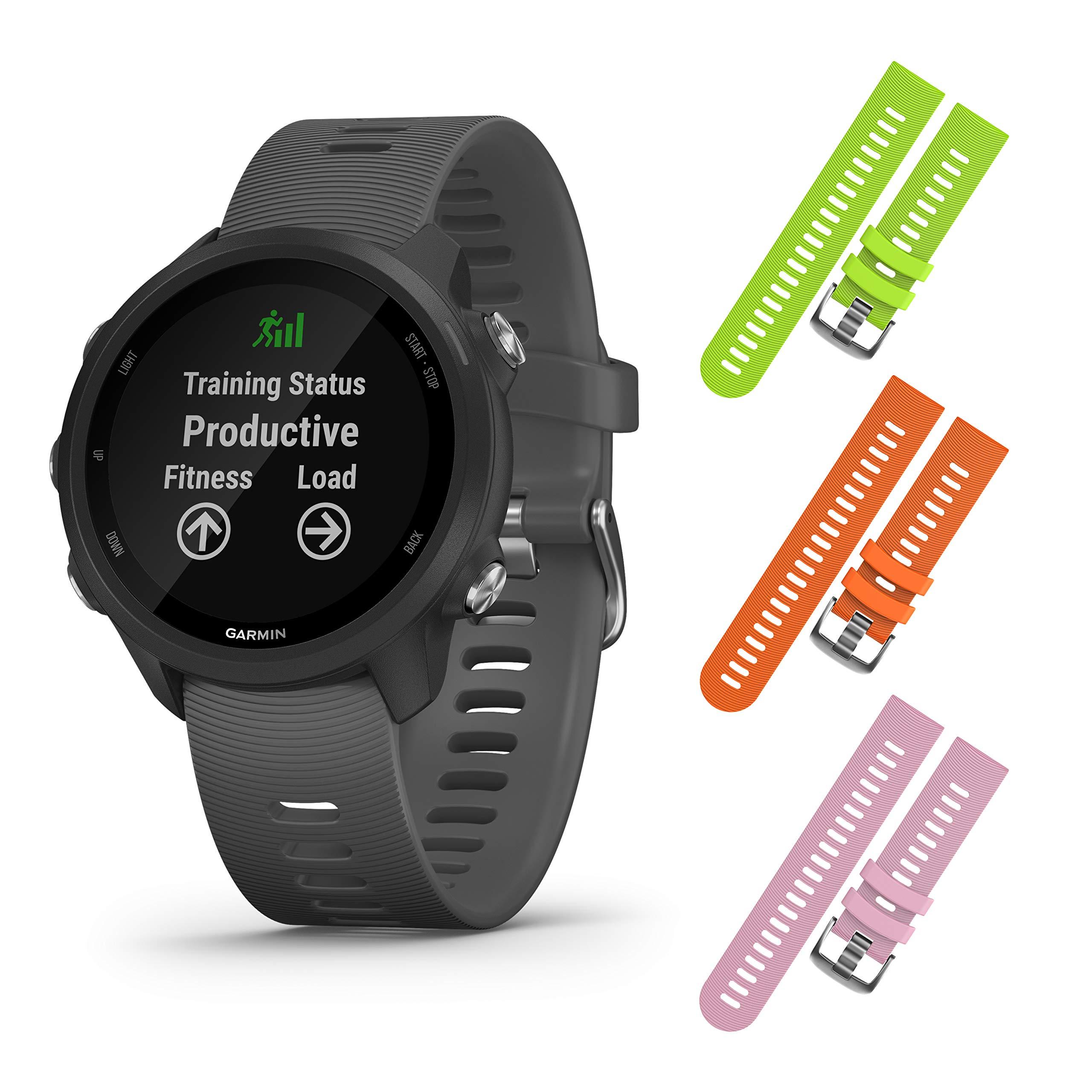 Garmin Forerunner 245 GPS Running Smartwatch with Included Wearable4U 3 Straps Bundle (Slate Grey 010-02120-00, Lime/Orange/Pink)
