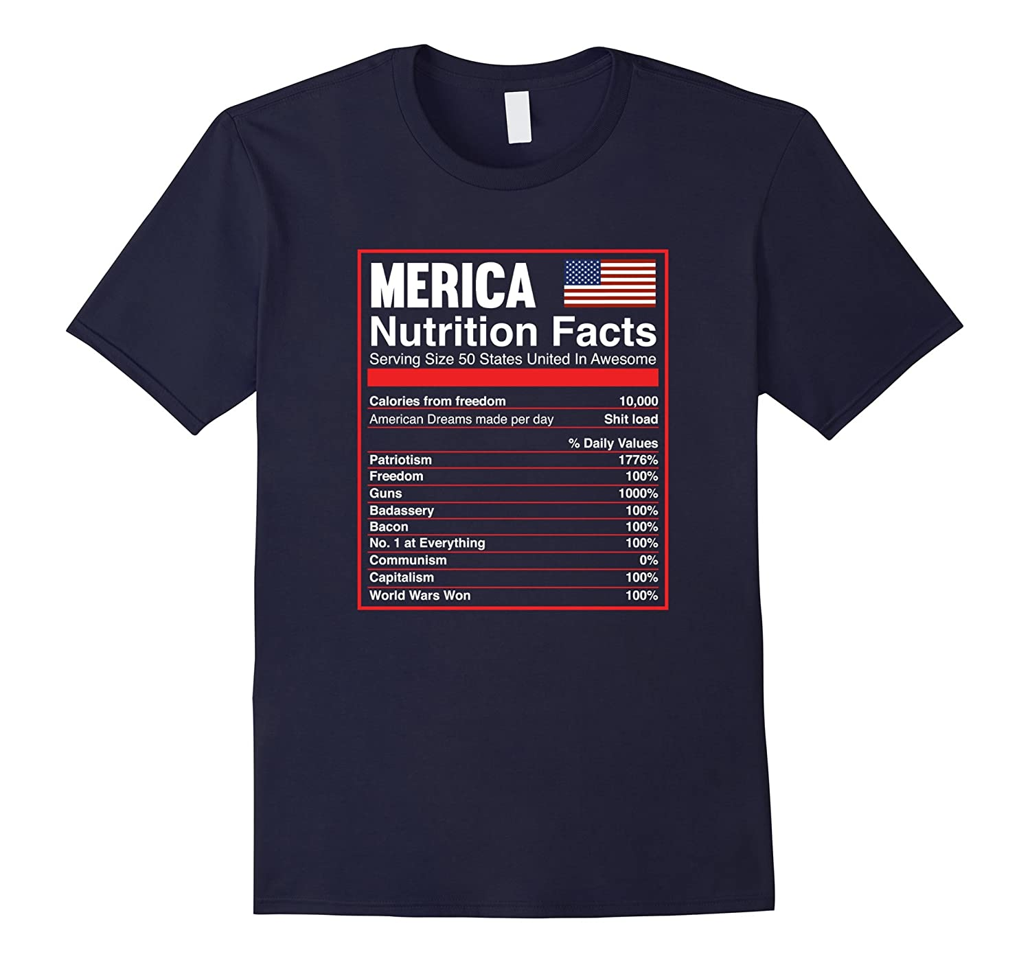 Patriotic Merica Nutrition Facts T-Shirt America Flag-Art