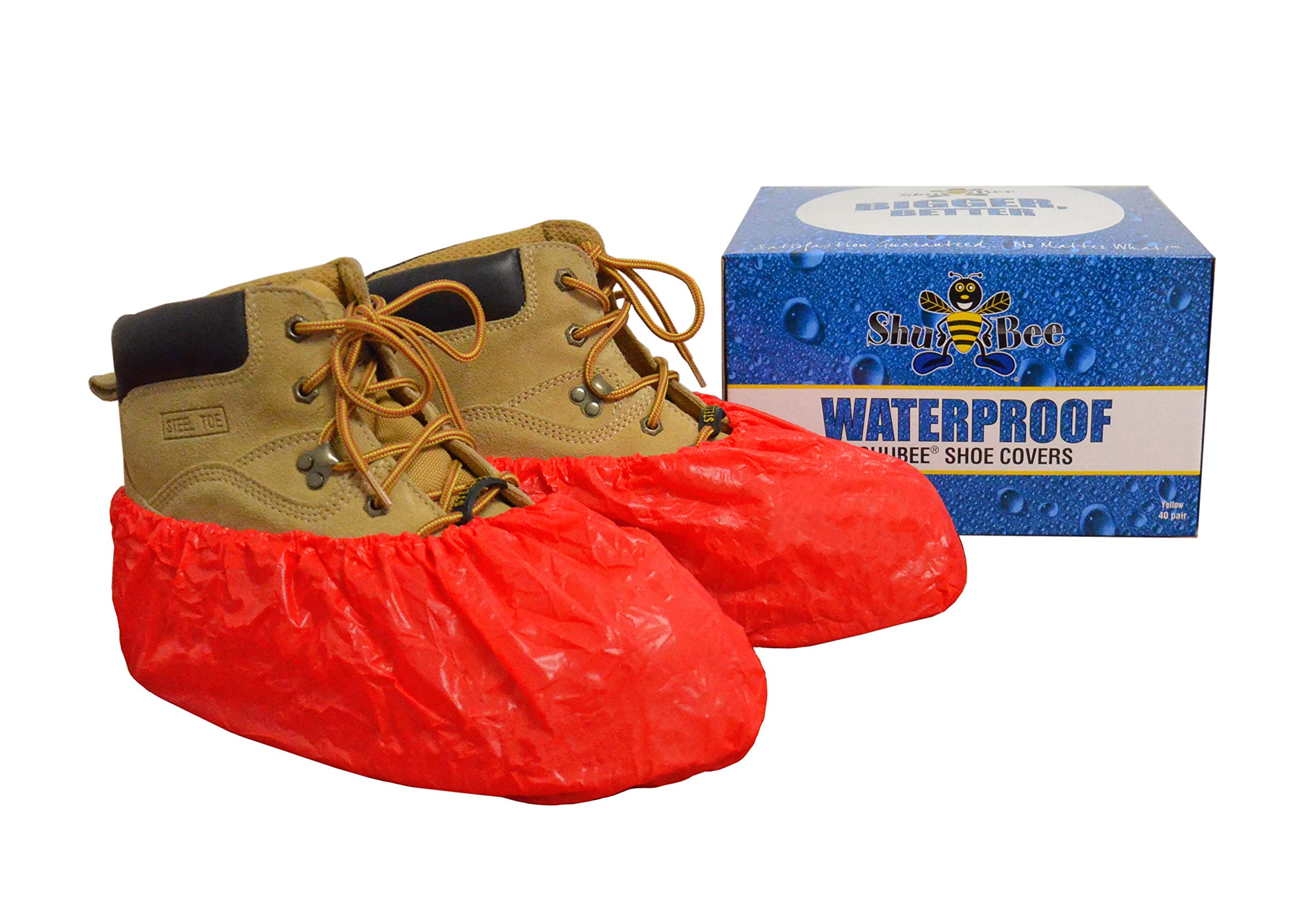 ShuBee Waterproof Shoe Covers, Red (40 Pair)