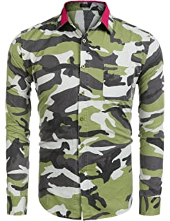 d67934cc757 COOFANDY Men s Fashion Print Camouflage Button Down Shirts Short Long  Sleeve Camo Slim Fit Dress