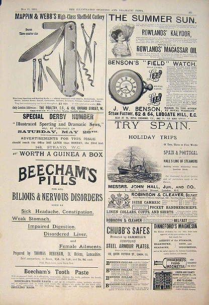 Impresión Antigua de Chubb Beecham de Benson de los Cubiertos de Mappin Webb del Anuncio