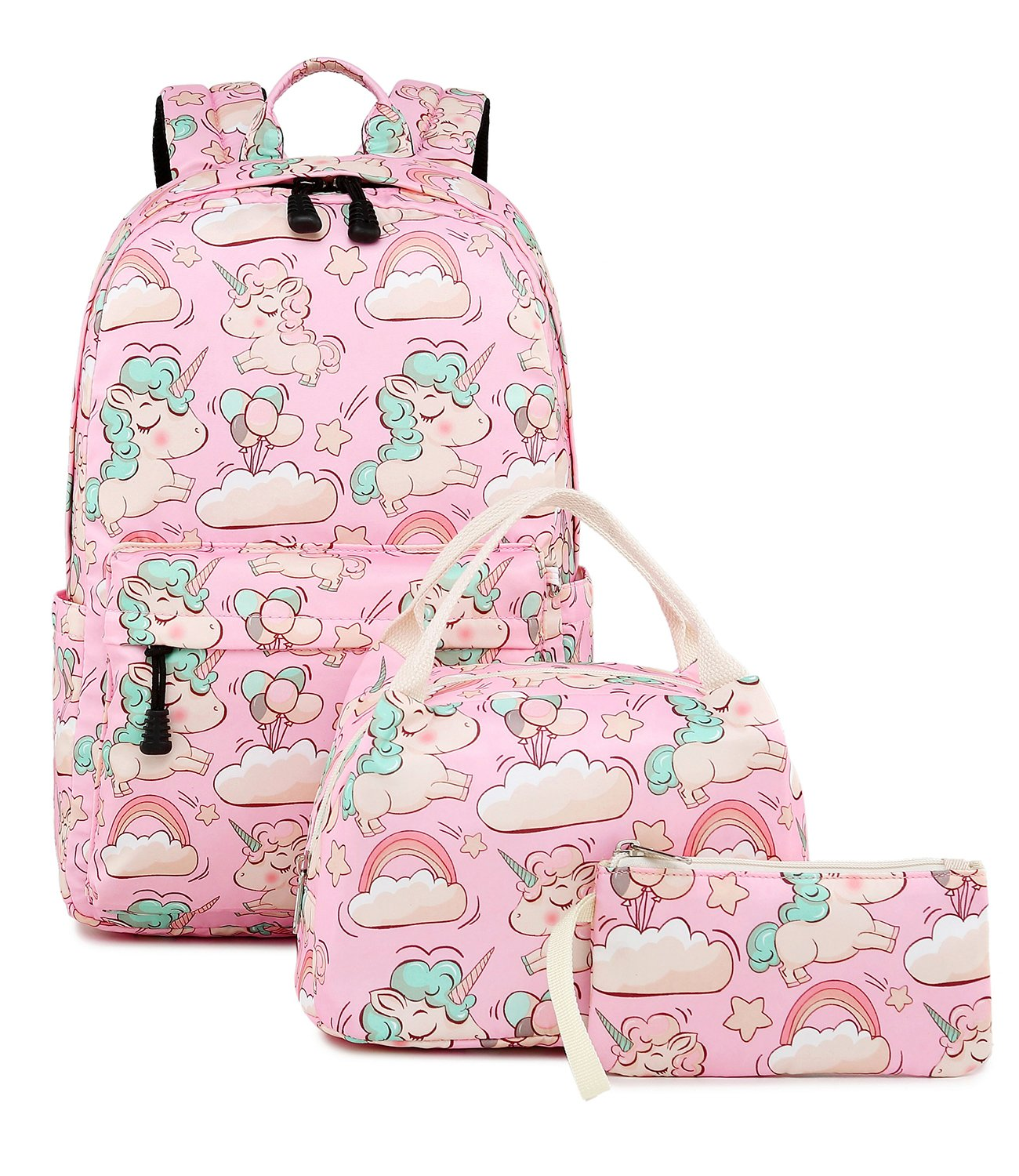 Abshoo Cute Lightweight Kids School Bookbags Unicorn Girls Backpacks With Lunch Bag (Unicorn Pink Set G3) by abshoo