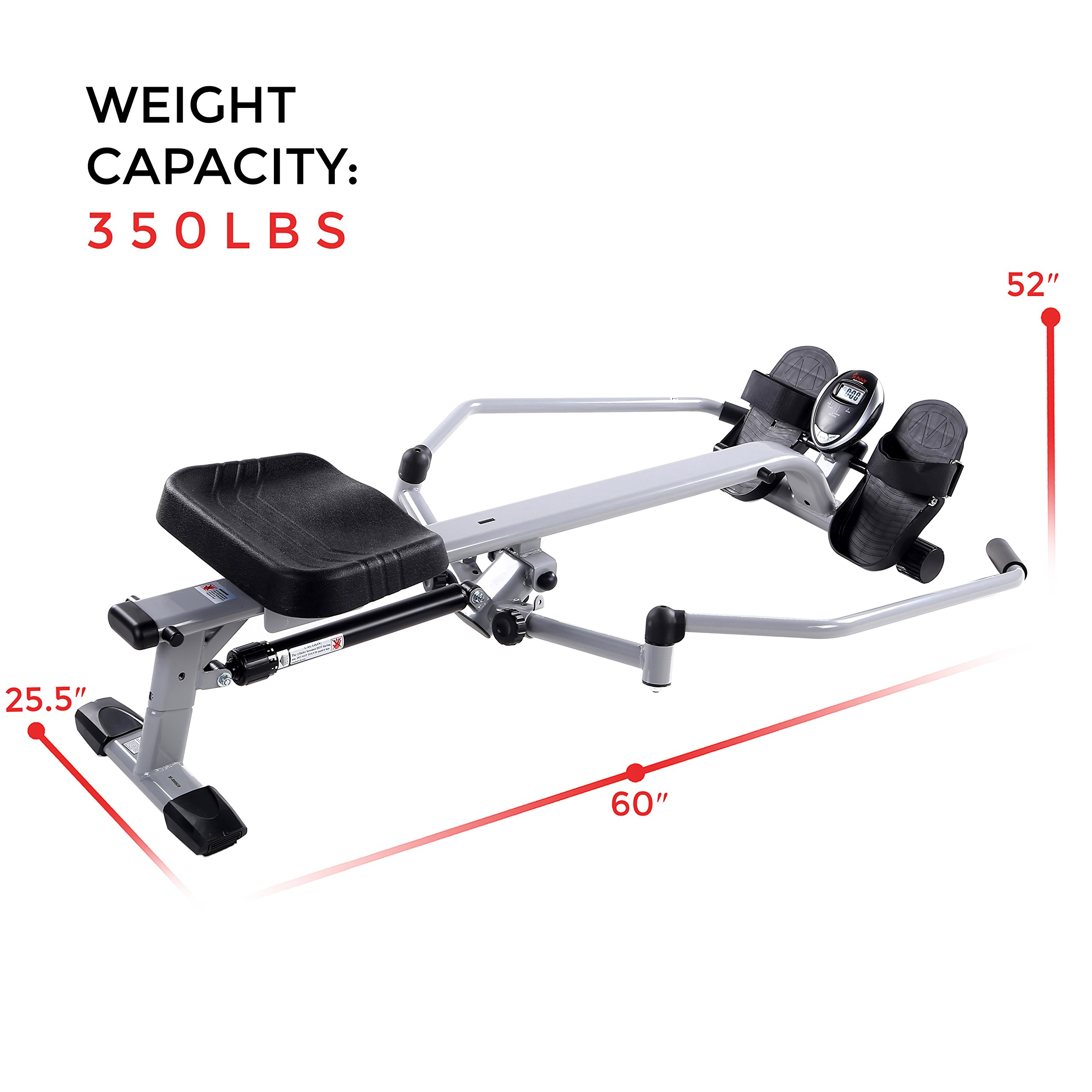 Sunny Health & Fitness SF-RW5639 Full Motion Rowing Machine Rower w/ 350 lb Weight Capacity and LCD Monitor by Sunny Health & Fitness (Image #16)