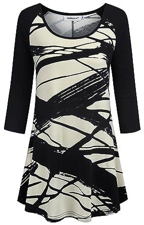 d62e0e22a7c8 Amazon.com  Helloacc Scoop Neck Floral Tunic Tops for Women 3 4 ...