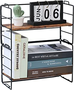 Counter Shelf Organizer, Set of 2 Stackable Shelves, Adjustable Desktop Storage Organizer Display Rack for Tabletop Kitchen Office Cabinet - Wood Look Metal Frame