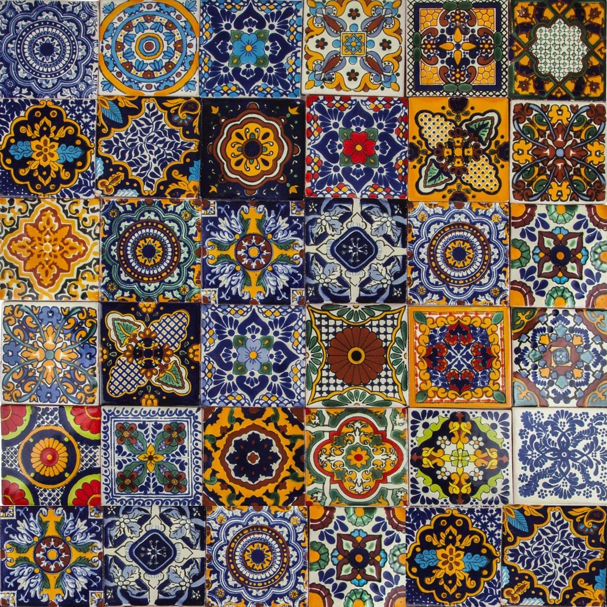 - Cerames Colorido - Mexican Tiles Pack Of 30 Tiles 10,5x10,5 Cm