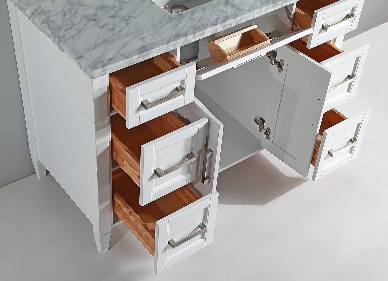 Vanity Art 48 Inch Bathroom Vanity Set with Carrara Marble Stone with Free Mirror VA2048-W