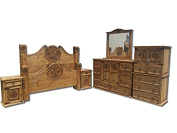 Beautiful Texas Star Rustic Bedroom Set With Rope Accents Solid Wood (King)