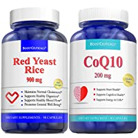 Red Rice Yeast for Cholesterol CoQ10 200 mg 180 capsule Bundle - No Additives Pure...
