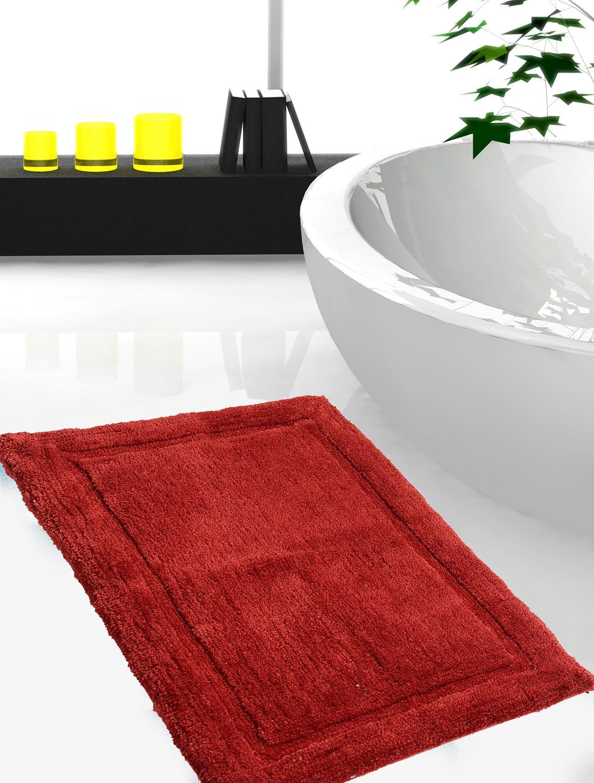 WARISI - Track Collection - Solids microfiber Bathroom, Bedroom Rug, 34 x 21 inches (Marsala) by WARISI (Image #4)