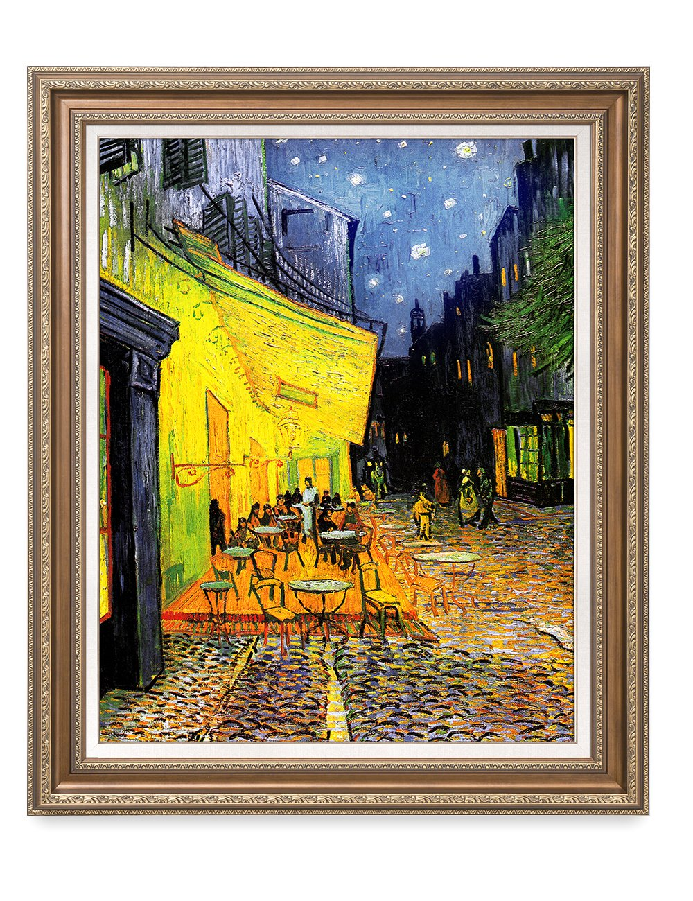 DecorArts - Cafe Terrace At Night, Vincent Van Gogh Art Reproduction. giclee prints Framed Art for Wall Decor. Framed size: 36x30''