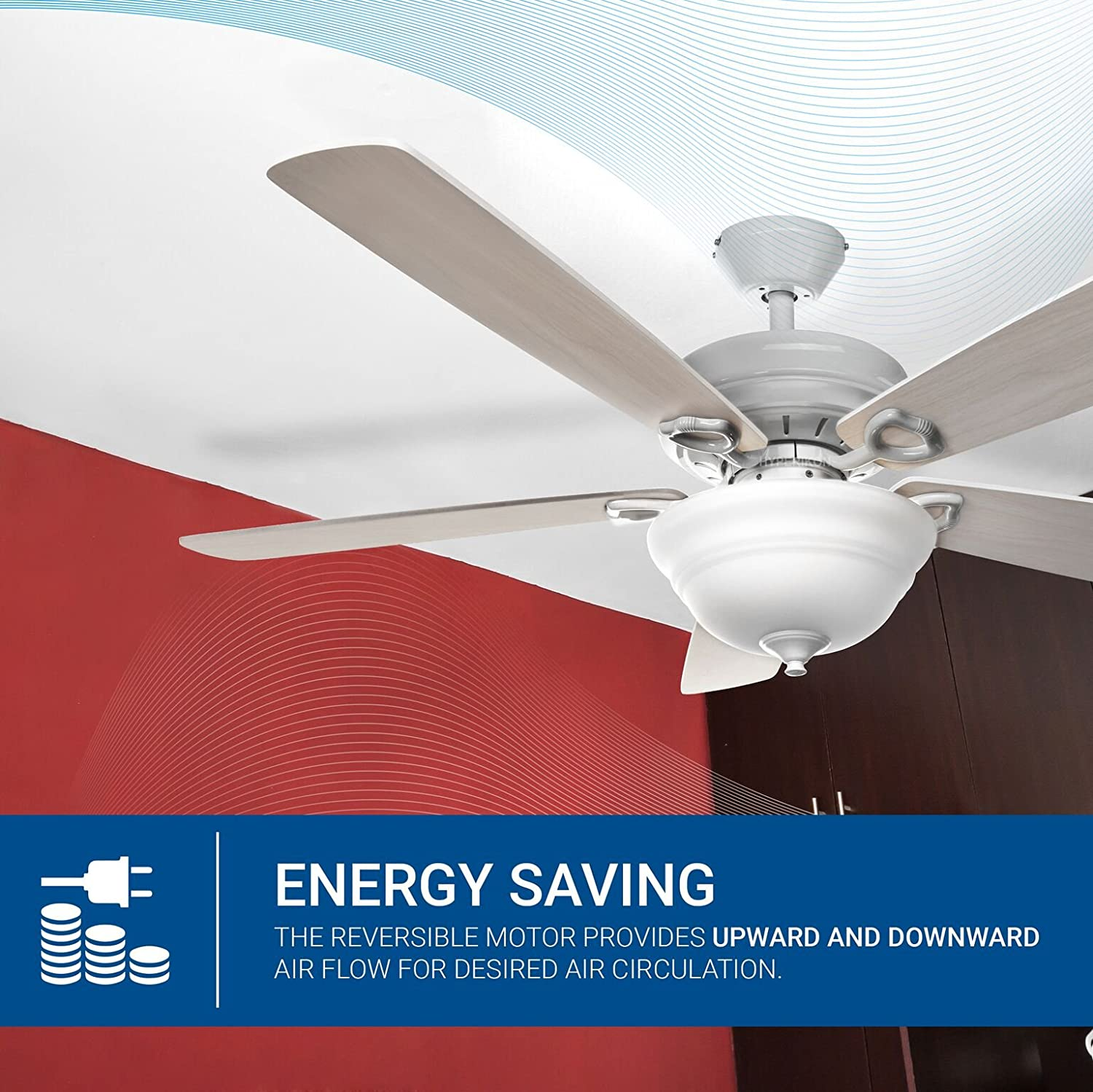Hyperikon 52 Inch Ceiling Fan With Remote Control White How To Install A Light Kit On 7 Steps Indoor Five Reversible Blades And Frosted Dome Bulb Not Included Amazon