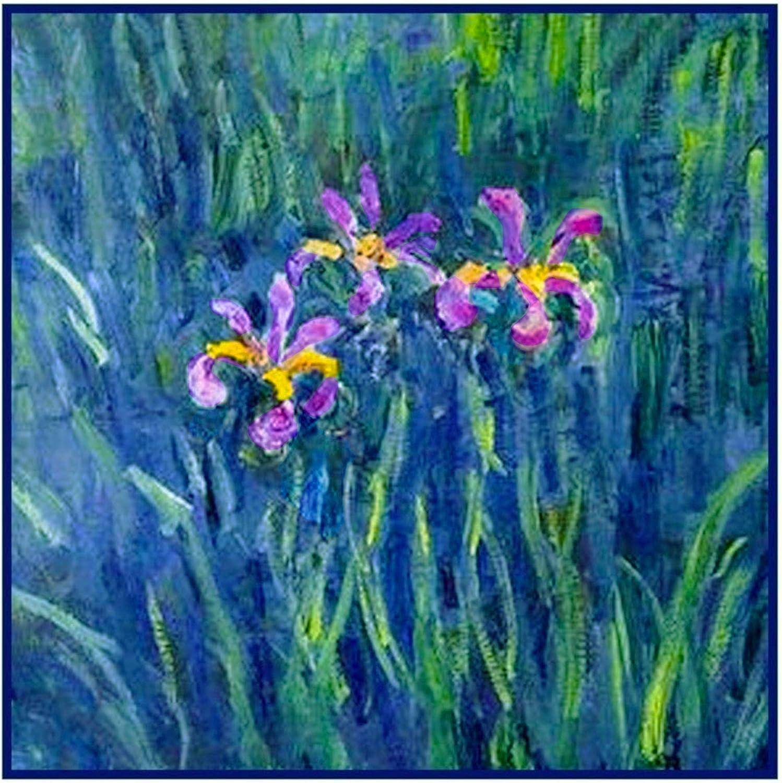 Impressionist Monet Iris Flowers Counted Cross Stitch Pattern