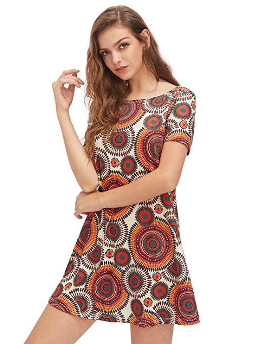 OEUVRE Women's Basic Casual Ethnic Loose Shift Tunics Dress  - clothes under 10 dollars