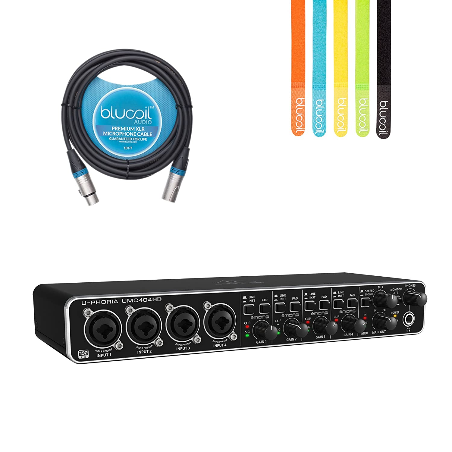 Behringer U-PHORIA UMC404HD USB 2.0 Audio/MIDI Interface -INCLUDES- Blucoil Audio 10' Balanced XLR Cable AND 5 Pack of Cable Ties 4334426997