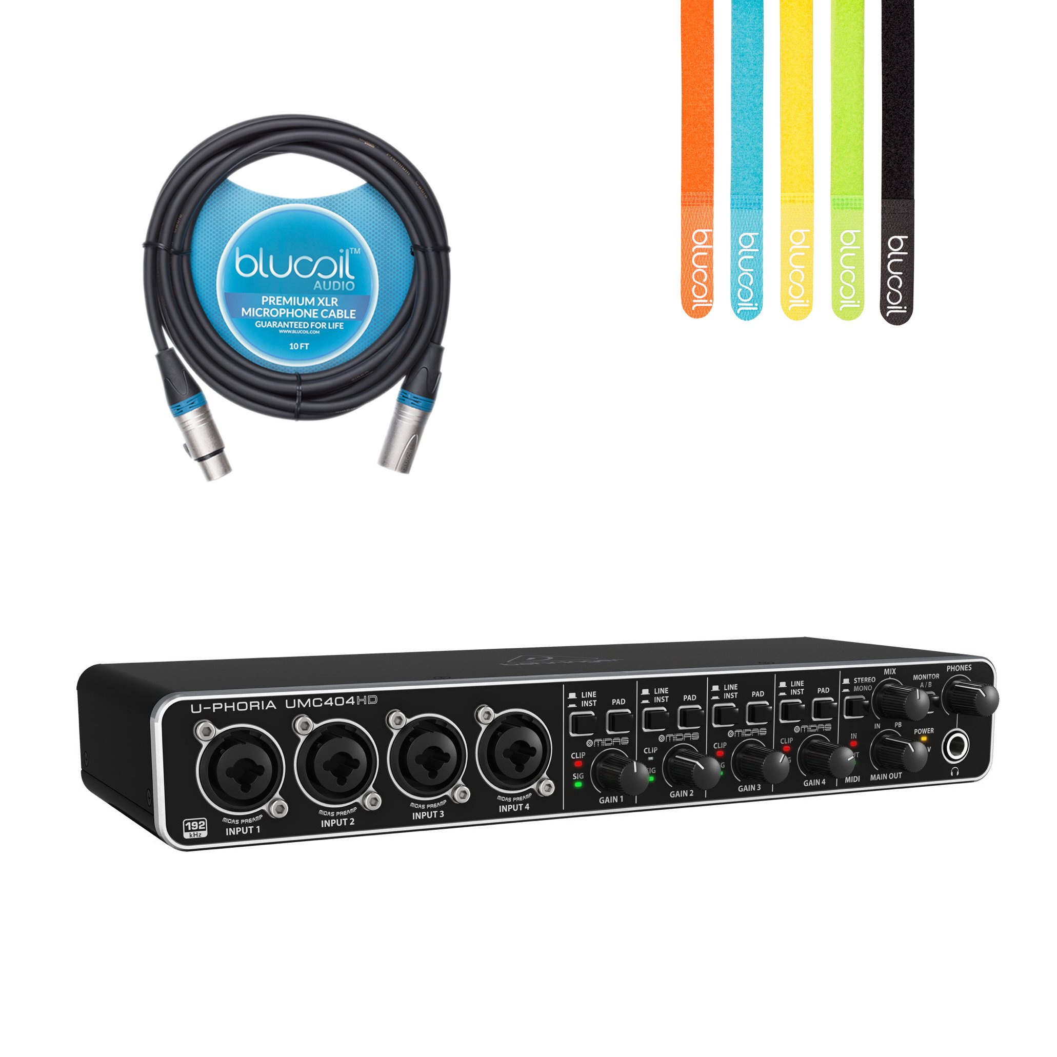 Behringer U-PHORIA UMC404HD USB 2.0 Audio/MIDI Interface -INCLUDES- Blucoil Audio 10' Balanced XLR Cable AND 5 Pack of Cable Ties by blucoil
