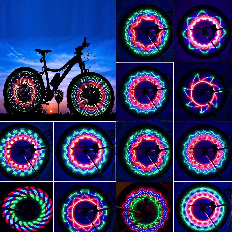 TGJOR Bike Wheel Lights, LED Waterproof Bicycle Spoke Light 32-LED 32pcs Changes Patterns Bicycle Rim Lights Mountain Bike/Road Bikes/BMX Bike/Hybrid Bike/Folding Bike