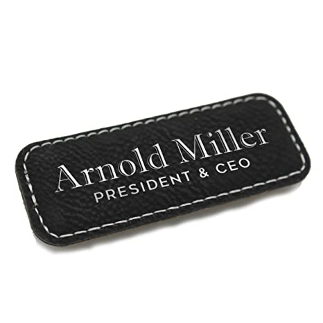 Personalized Name Tag - Custom Engraved Employee Badges - Monogrammed  Professional Name Tags (Black with Silver)