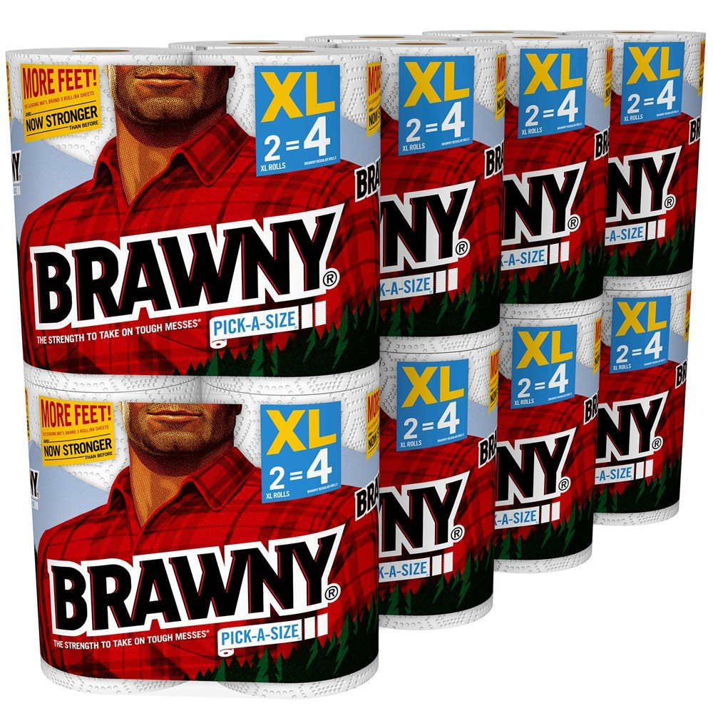 Brawny Paper Towels, 16 XL Rolls, Pick-a-Size,16 = 32 Regular Rolls, White by Brawny