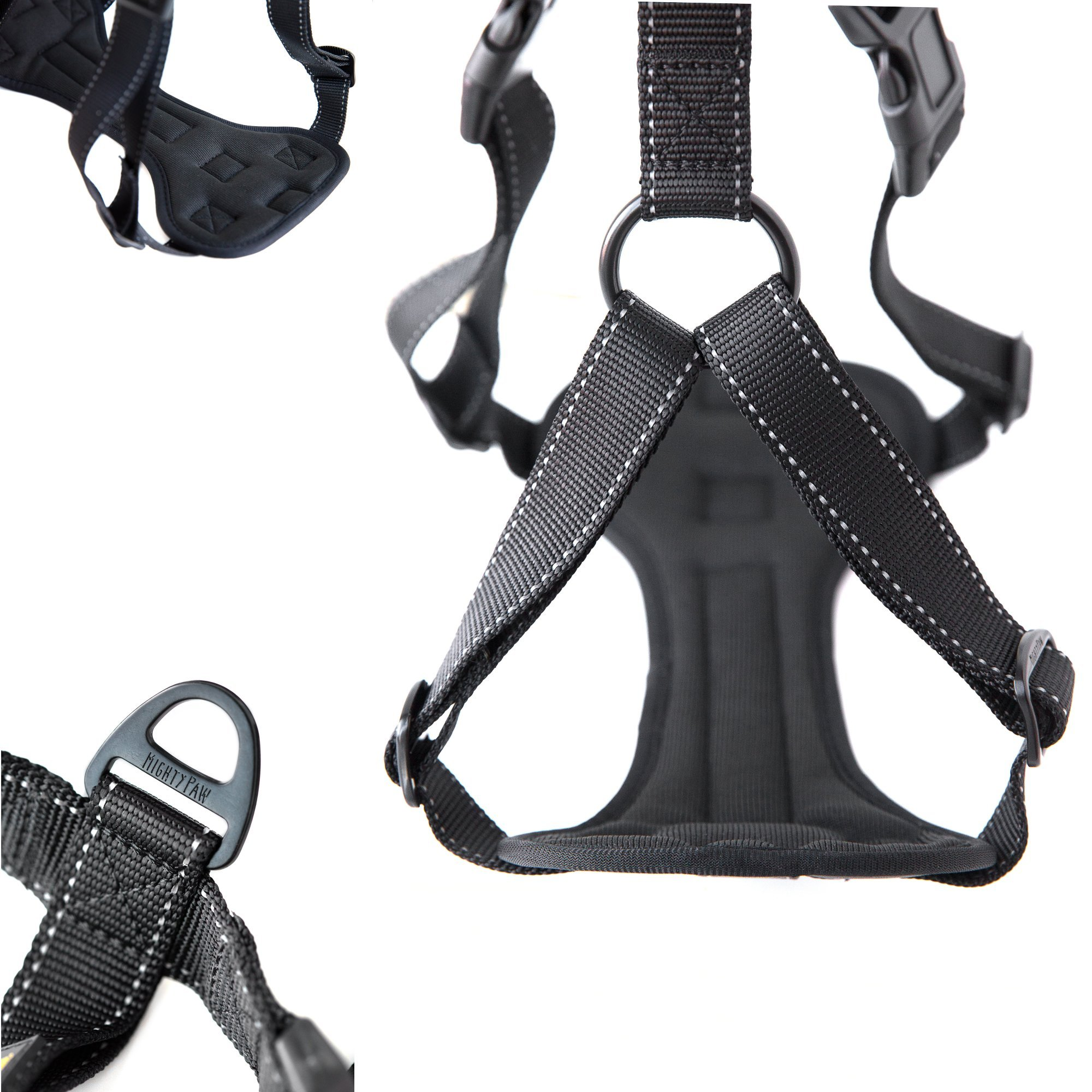 Mighty Paw Vehicle Safety Harness, Car Harness with Adjustable Straps and Soft Padding, Doubles as Dog Walking Harness with Front Leash Attachment (Medium, Black)