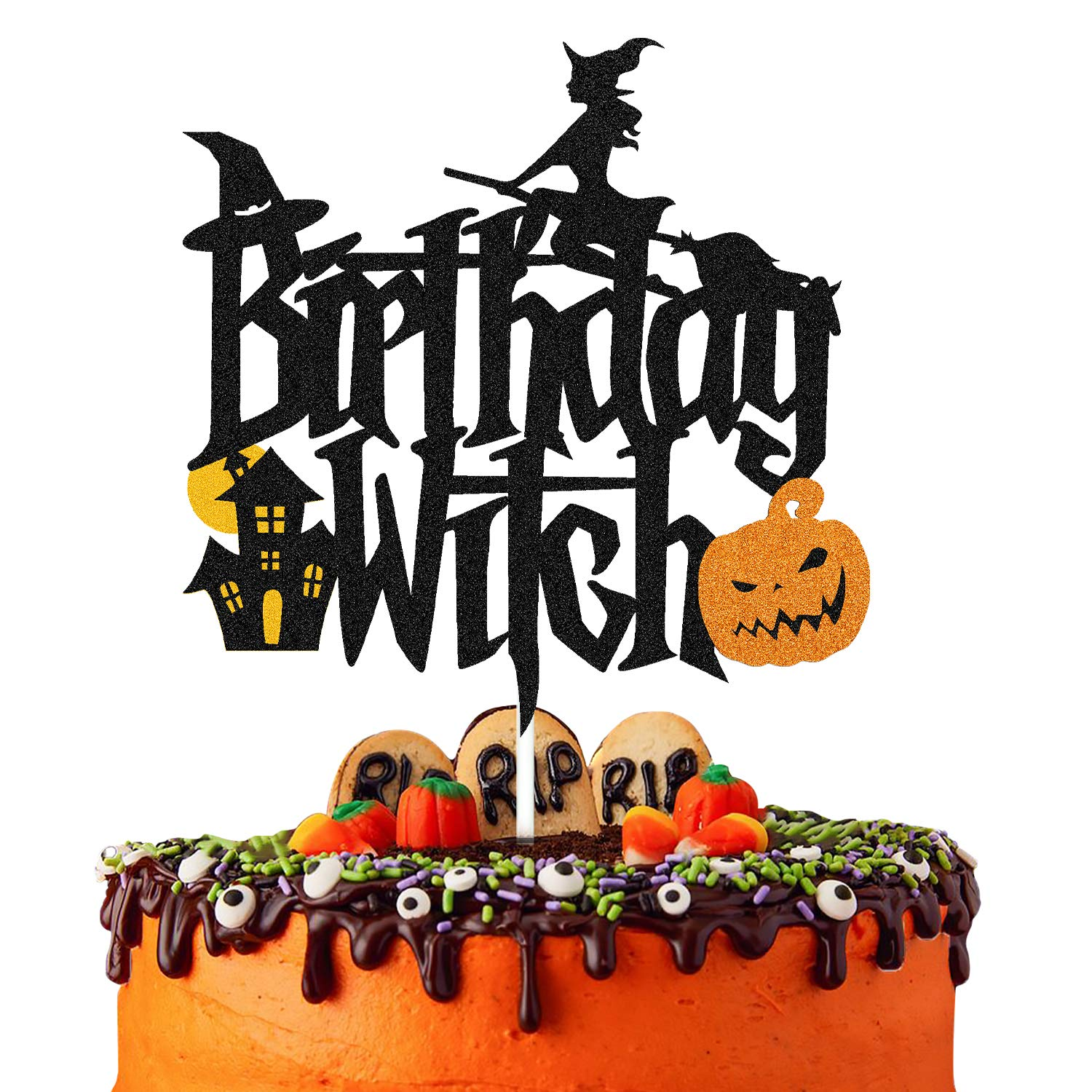 Halloween Happy 2nd Birthday Fall Autumn Two Years Old Birthday Party Decorations,Witch Leg,Tomb card Happy Halloween Party Cake Decor Witch Two Cake Topper