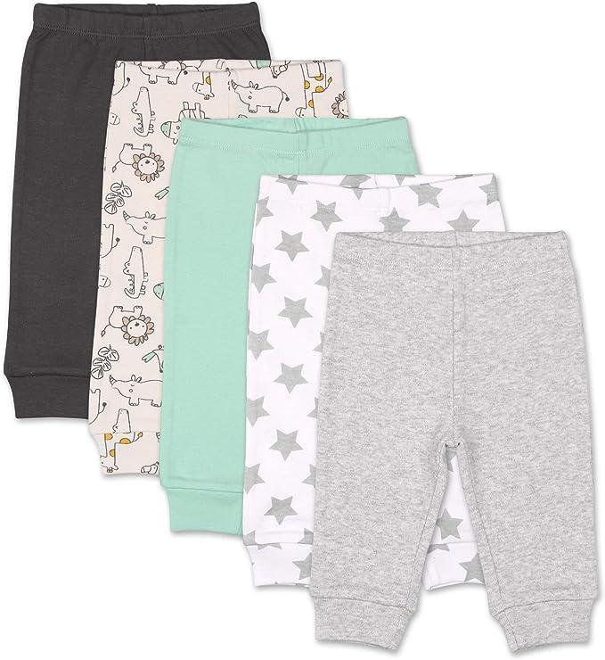 The Peanutshell 5 Pack Baby Pants Set Grey Newborn to 24 Month Sizes Black Safari Animals